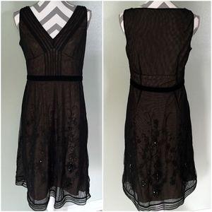 ANN TAYLOR LOFT Sheer Floral Evening V-Neck Dress